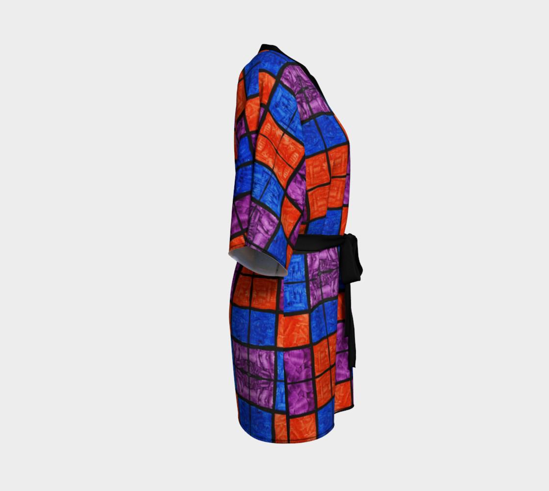 Checkerboard Mosaic Kimono Robe preview #3