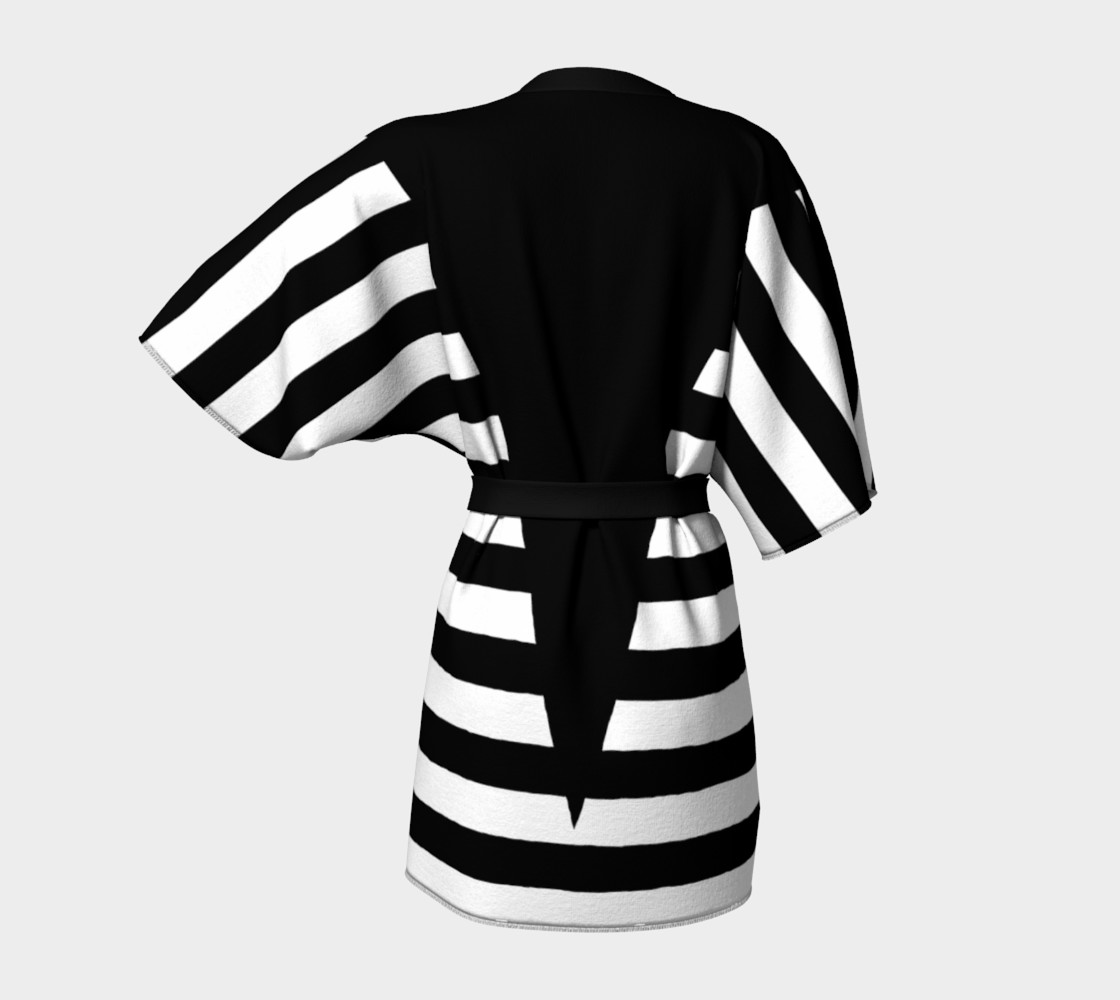 White Black Stripes Big Triangle kimono robe preview #4