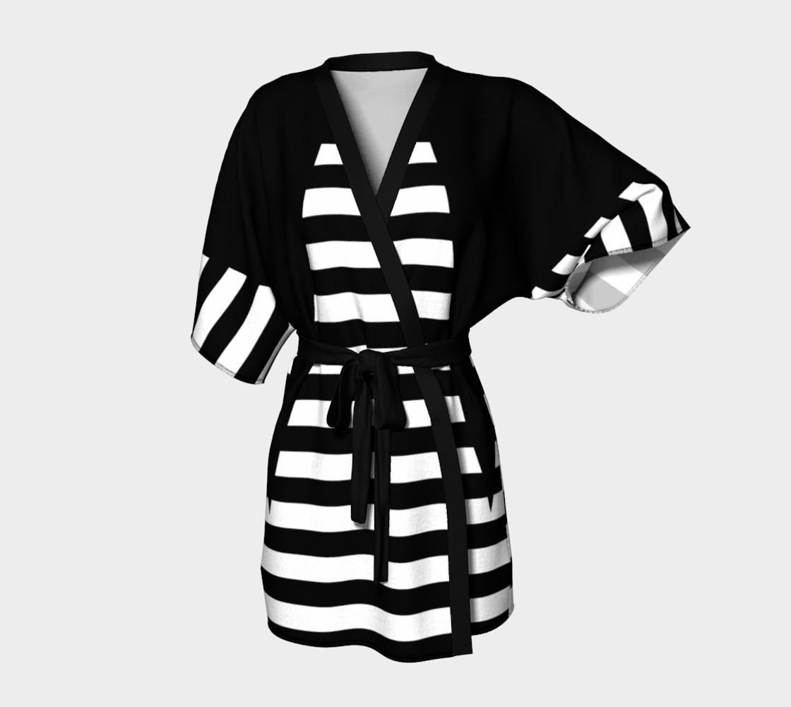 White Black Stripes Big Triangle kimono robe preview #1
