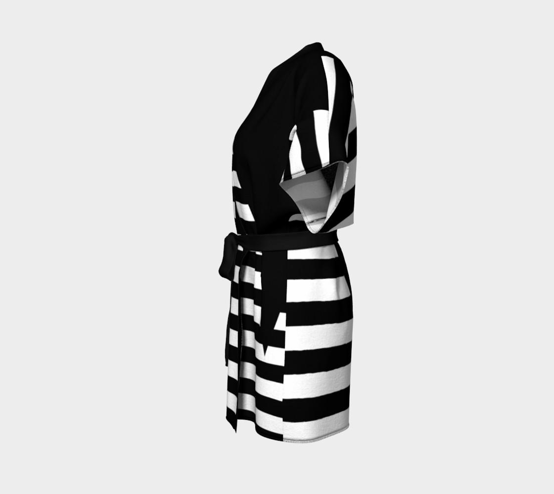 White Black Stripes Big Triangle kimono robe preview #2