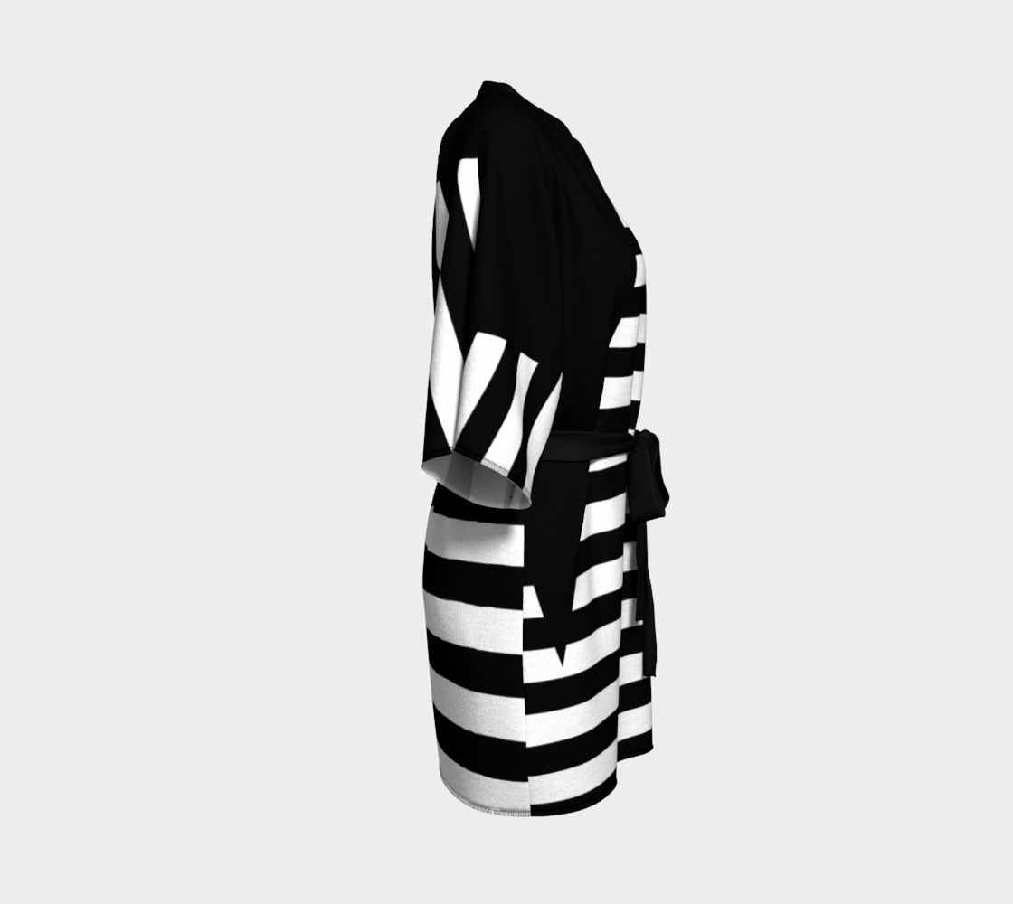 White Black Stripes Big Triangle kimono robe preview #3