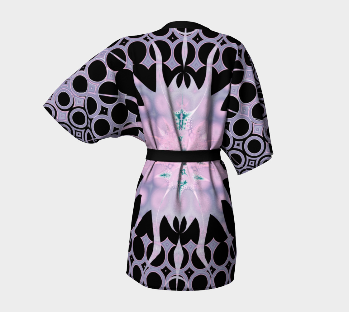 Pink Purple and Black Art Nouveau Sun Kimono Robe preview #4