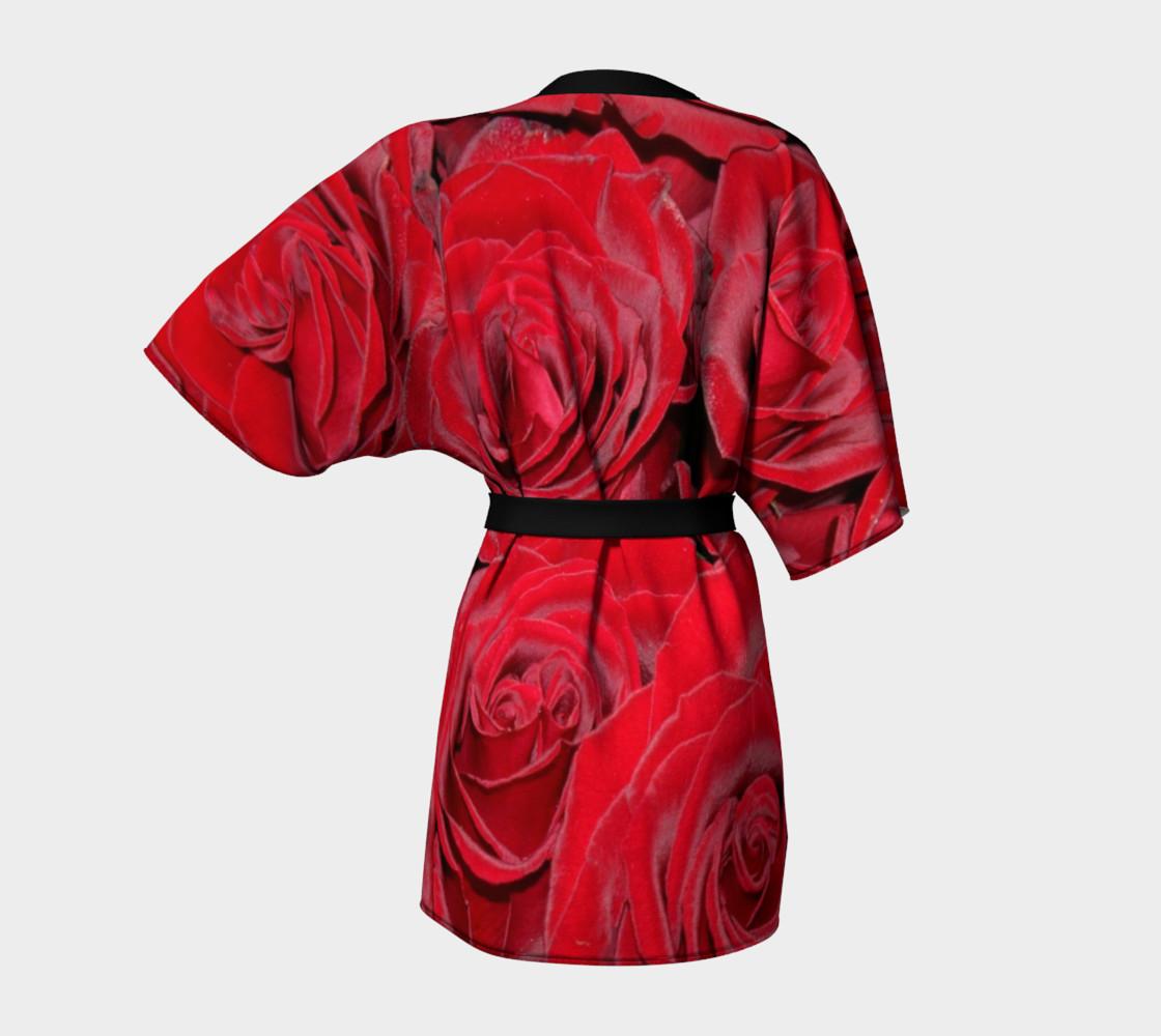 Red Roses Floral Design Kimono Robe preview #4