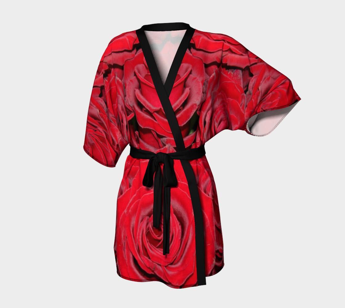Red Roses Floral Design Kimono Robe preview #1