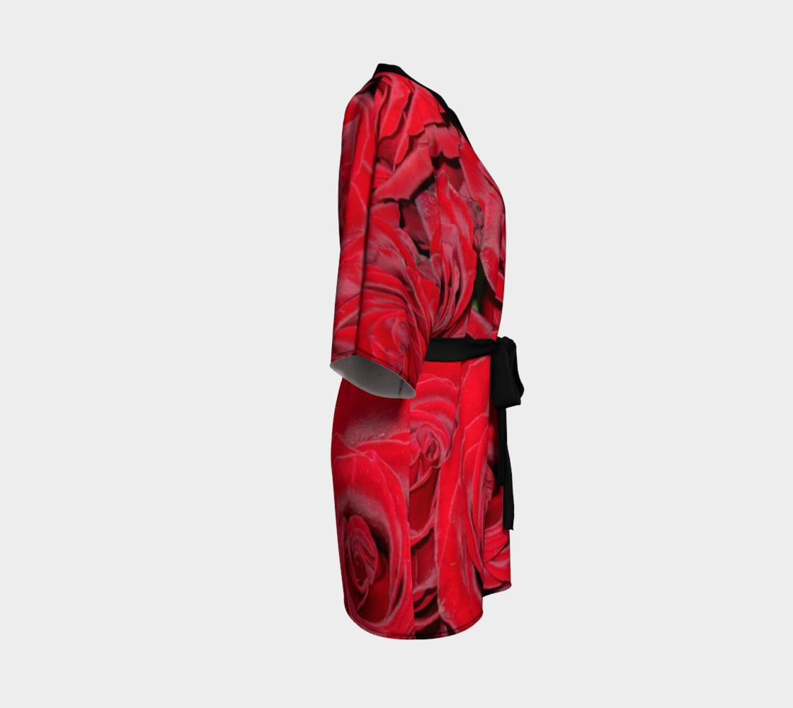 Red Roses Floral Design Kimono Robe preview #3