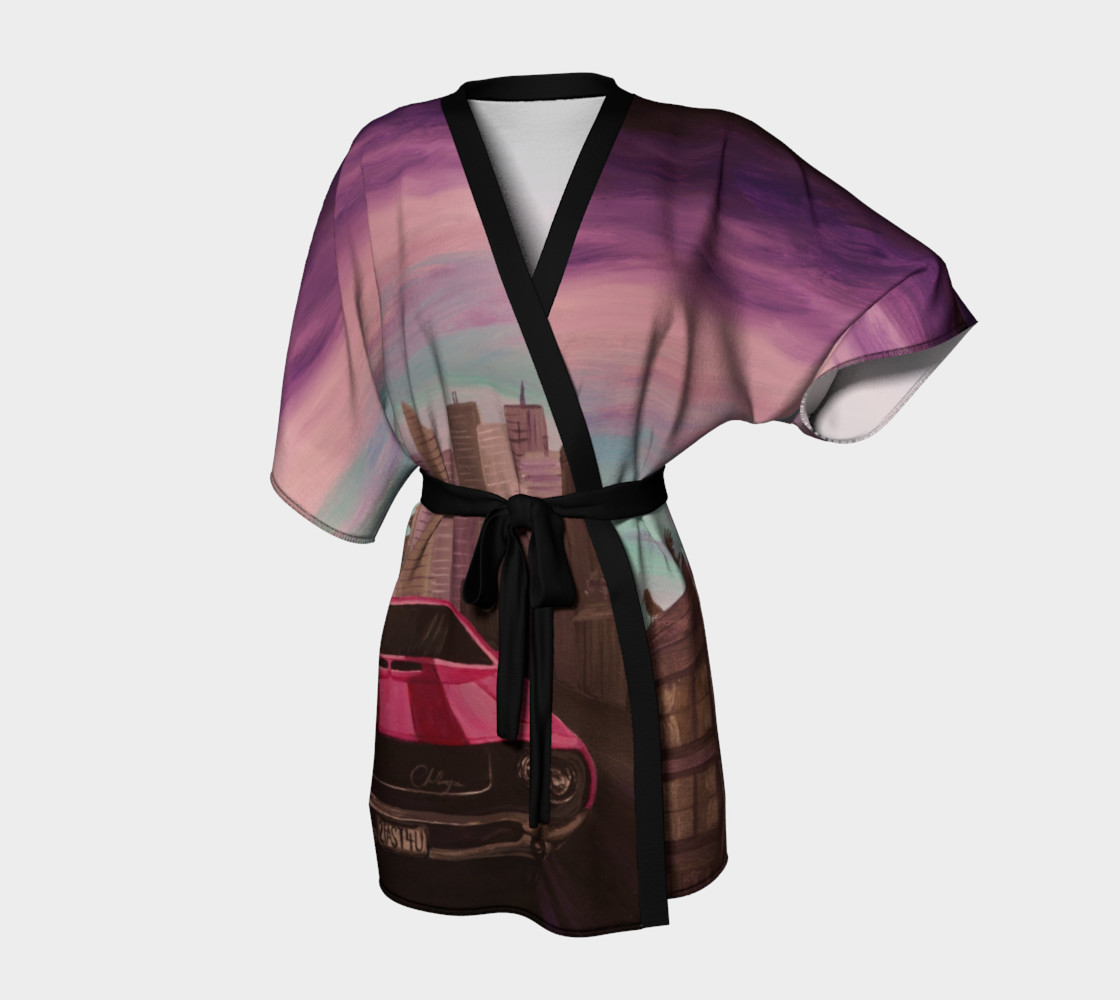 Hot Pink Classic Car Kimono Robe 3D preview