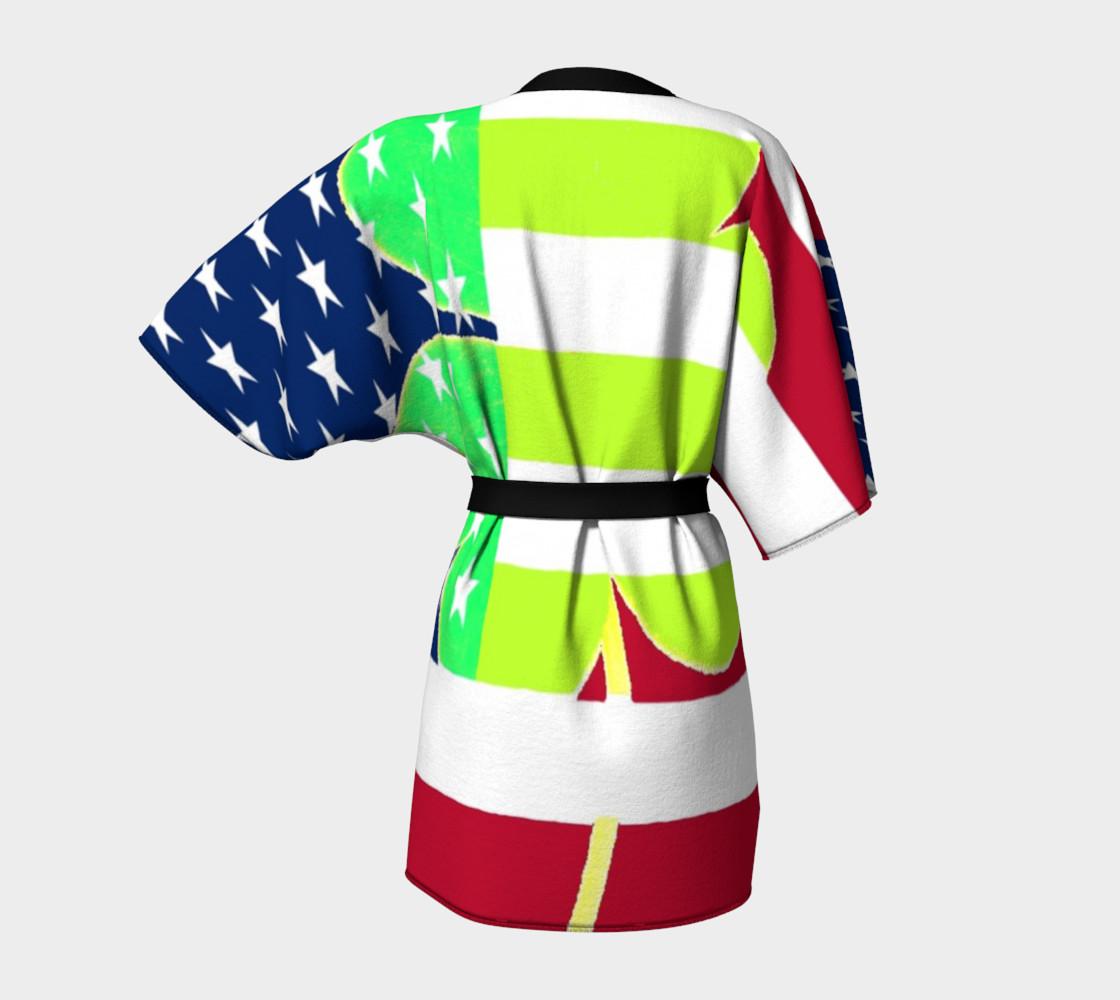 Aperçu de Funny St. Patrick Kimono Robe Irish Shamrock American Flag Colors #4