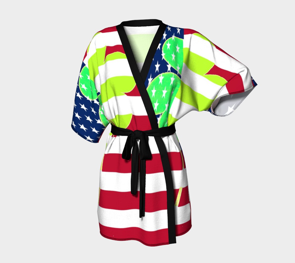 Aperçu de Funny St. Patrick Kimono Robe Irish Shamrock American Flag Colors #1