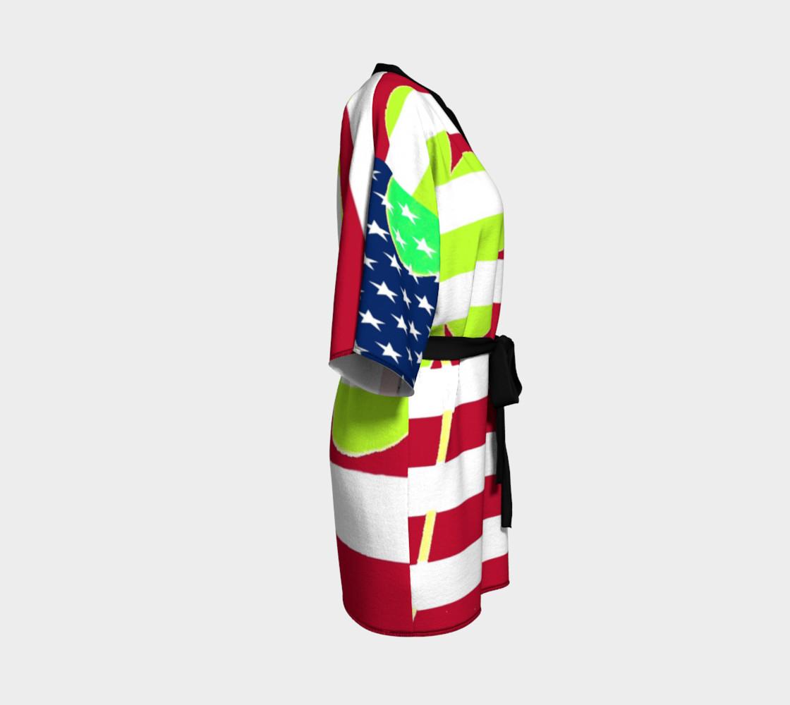 Aperçu de Funny St. Patrick Kimono Robe Irish Shamrock American Flag Colors #3