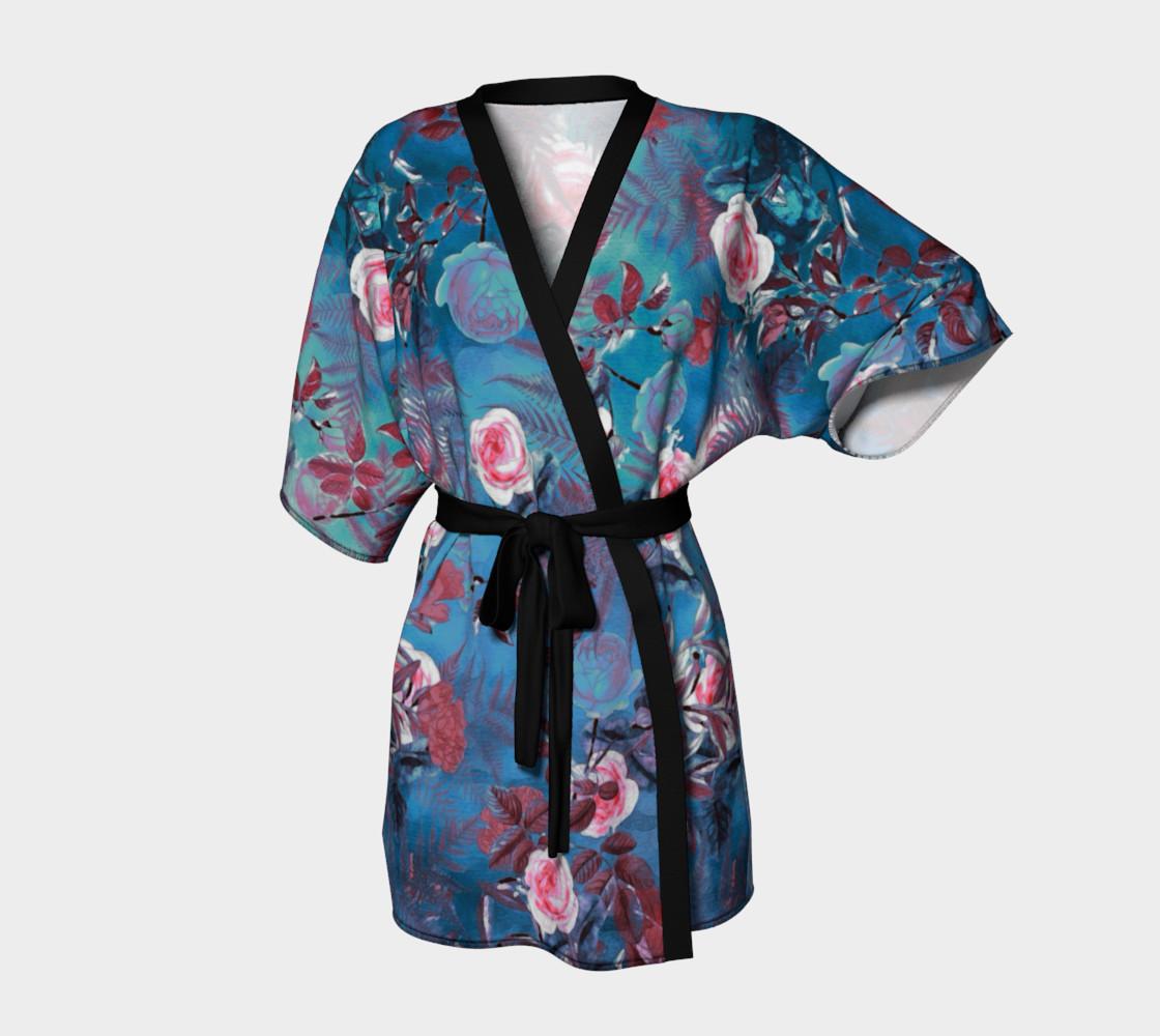 Aperçu de kimono robe blue flowers #1