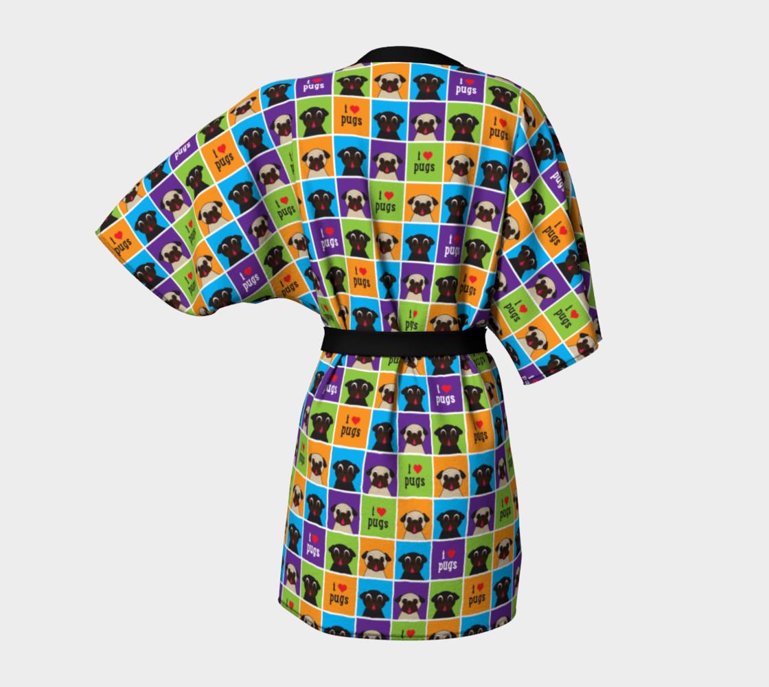 Aperçu de I Love Pugs Color Squares Kimono Robe #4