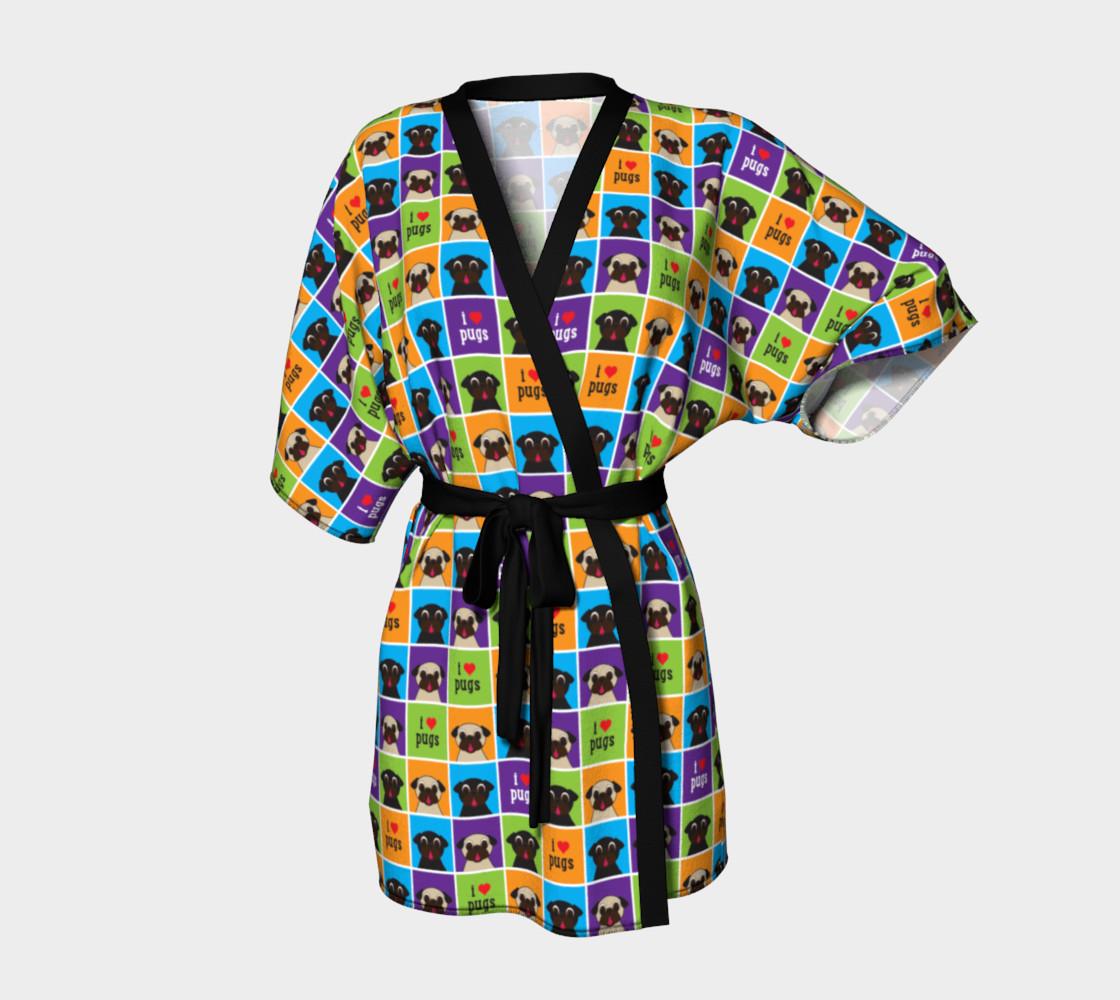 Aperçu de I Love Pugs Color Squares Kimono Robe #1