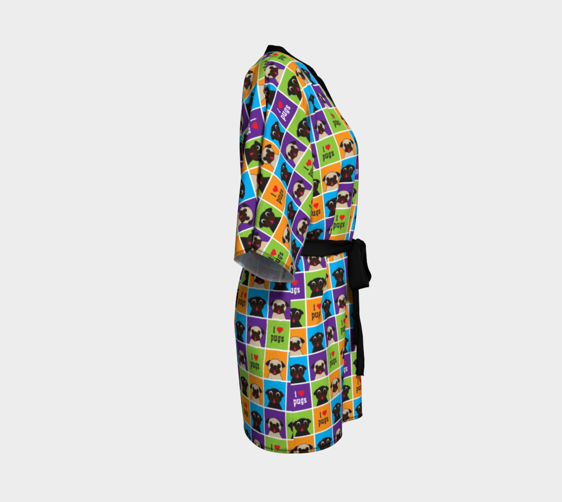 Aperçu de I Love Pugs Color Squares Kimono Robe #3