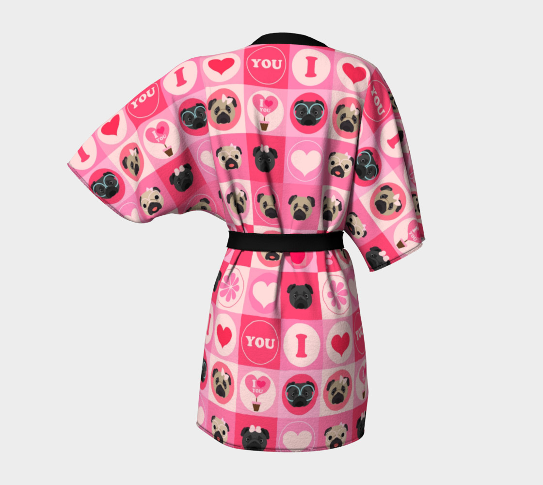 Valentine's Day Pug Kimono - Pinks, Fawn and Black Pugs Miniature #5