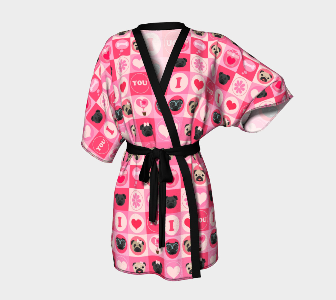 Valentine's Day Pug Kimono - Pinks, Fawn and Black Pugs Miniature #2