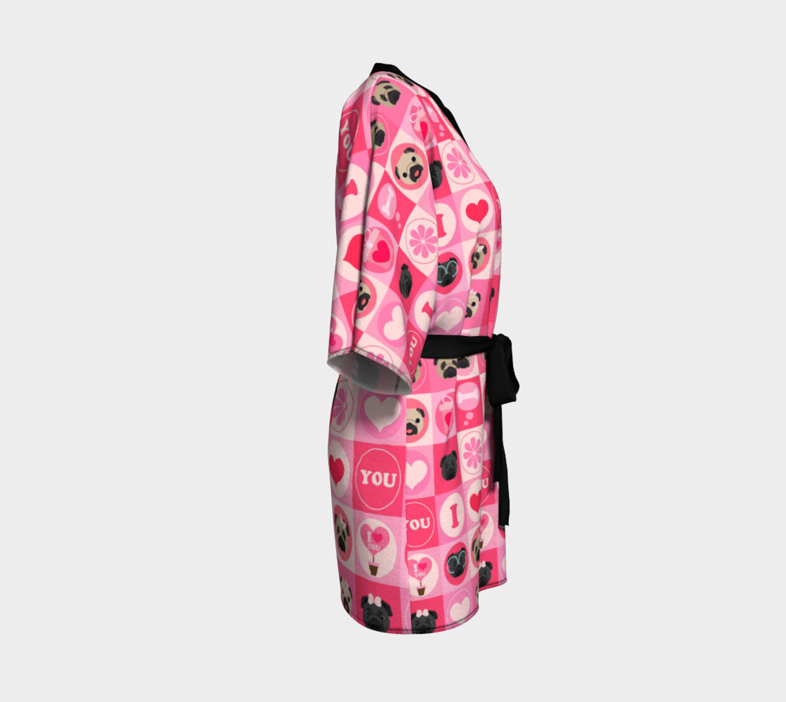 Valentine's Day Pug Kimono - Pinks, Fawn and Black Pugs Miniature #4