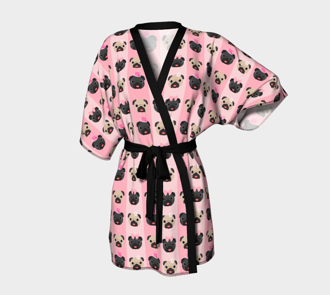 Pug Kimono - Black and Fawn Pugs on Pink Stripes preview #1