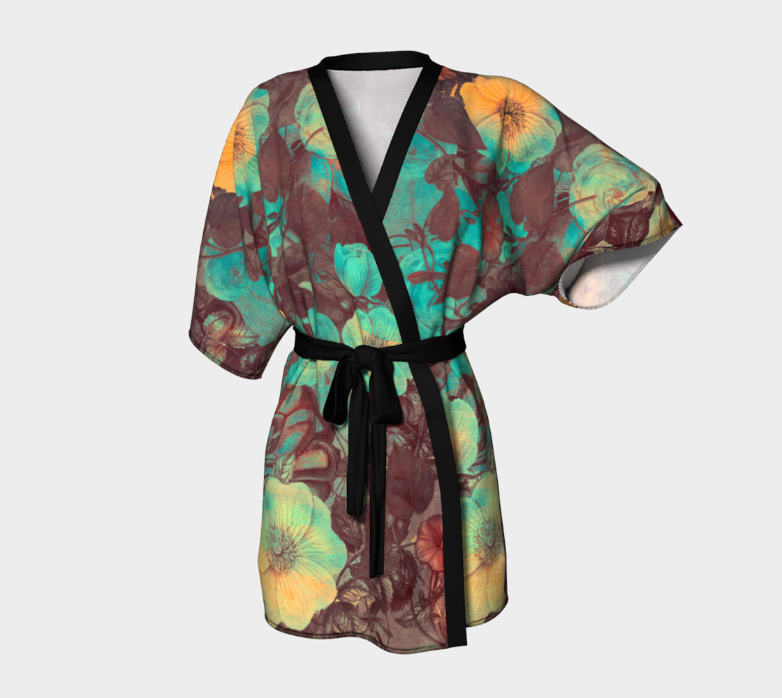 kimono robe yellow and green flowers preview #1