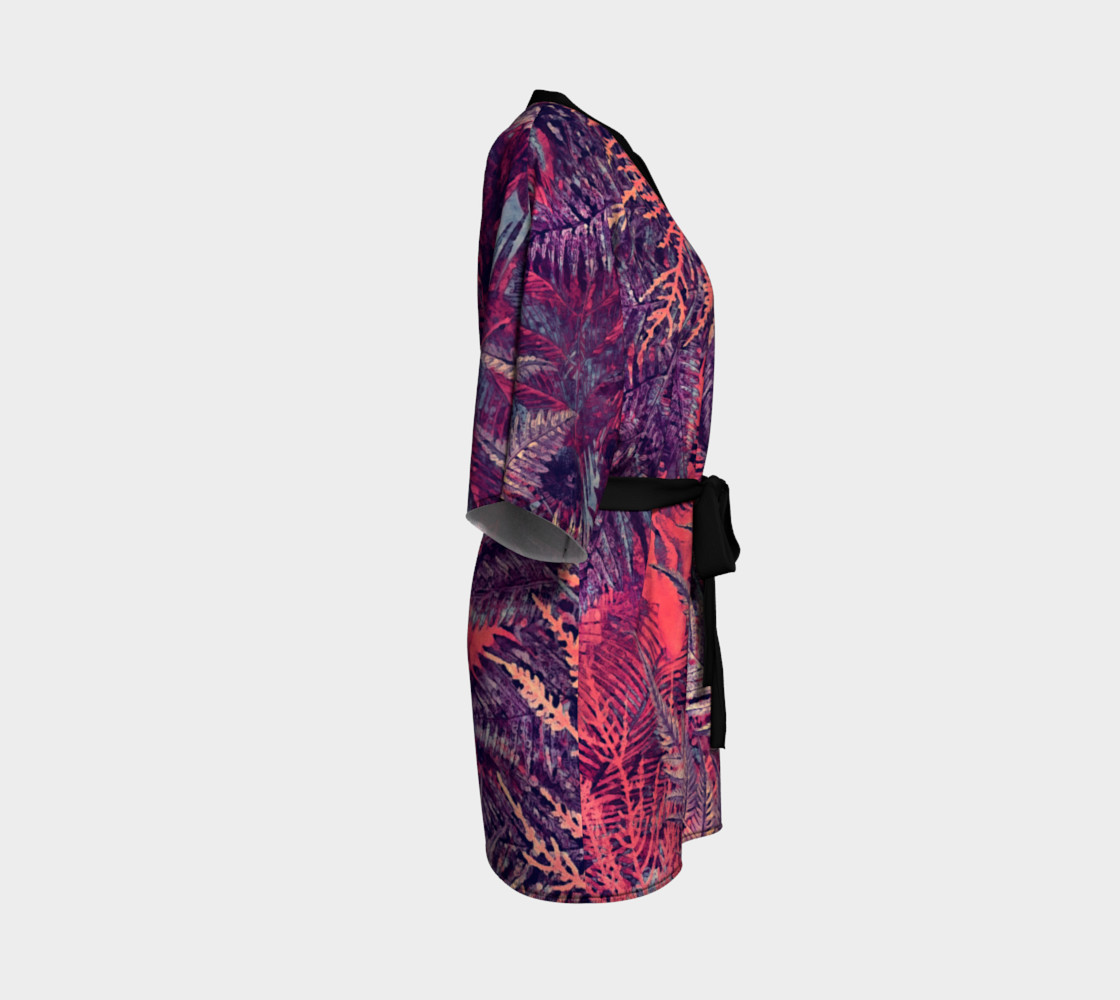 kimono robe purple flowers preview #3