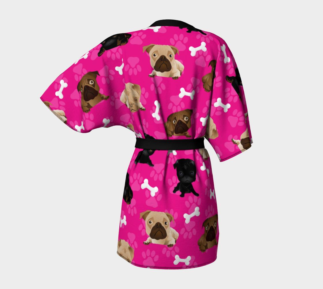 Aperçu de Bright Pink Pug Dog Kimono #4
