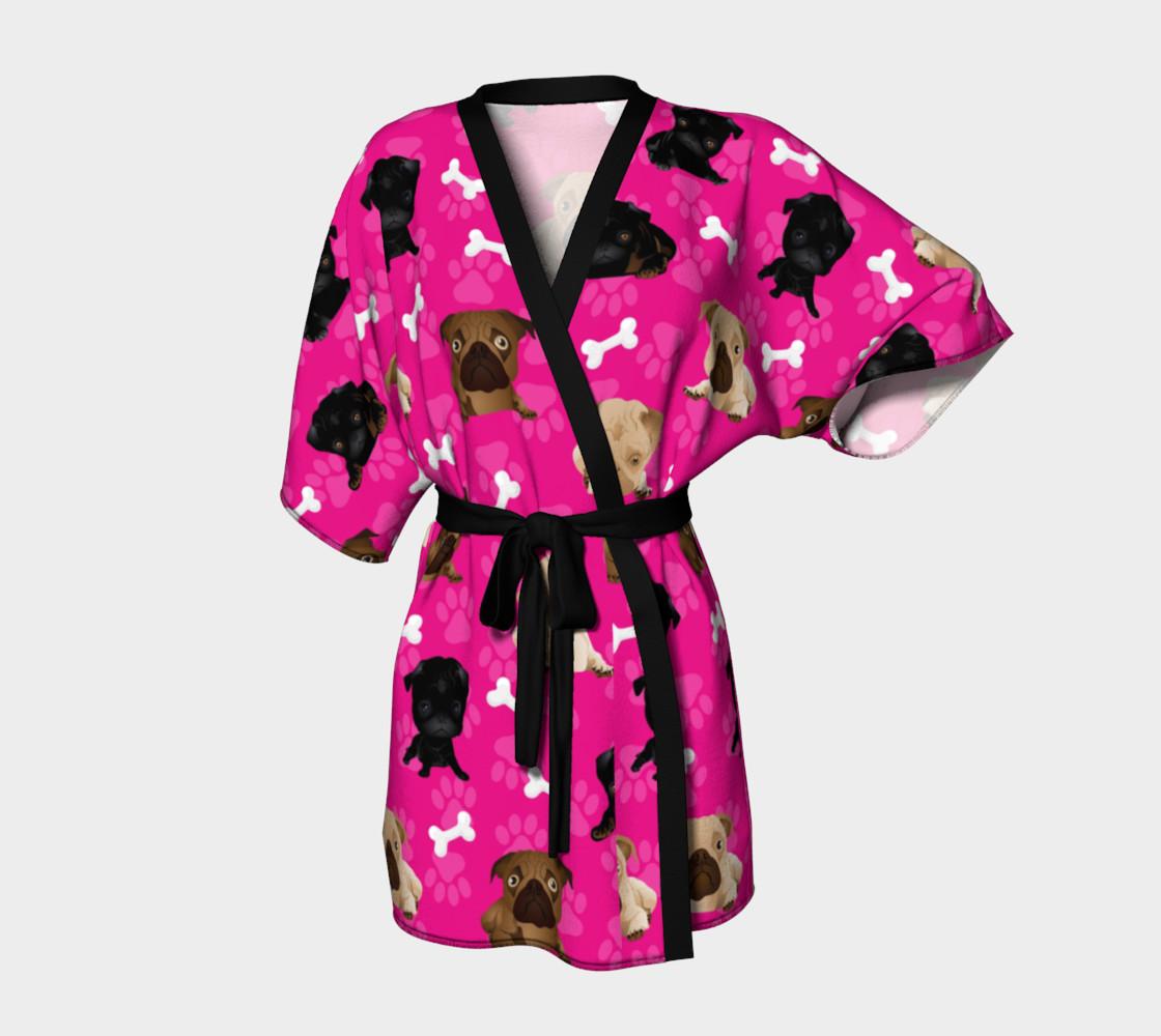 Aperçu de Bright Pink Pug Dog Kimono #1