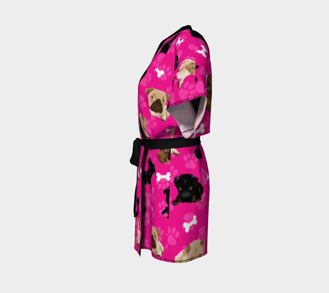 Aperçu de Bright Pink Pug Dog Kimono #2