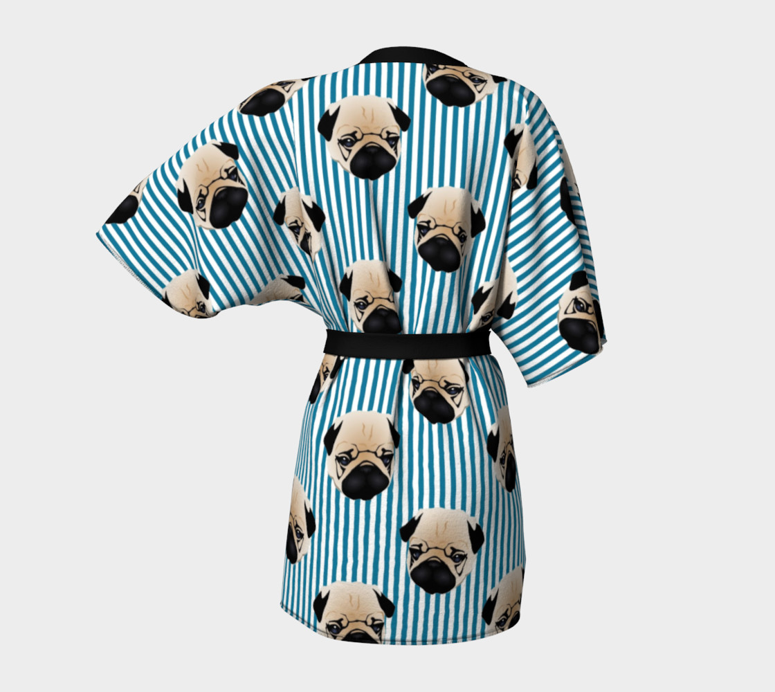 Pugs on Turquoise Stripes preview #4