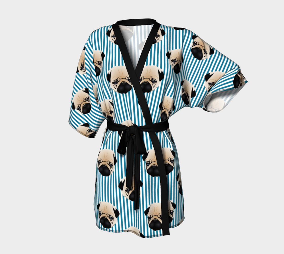Pugs on Turquoise Stripes preview #1
