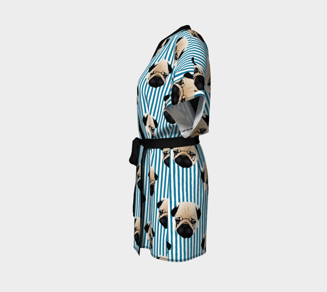 Pugs on Turquoise Stripes preview #2