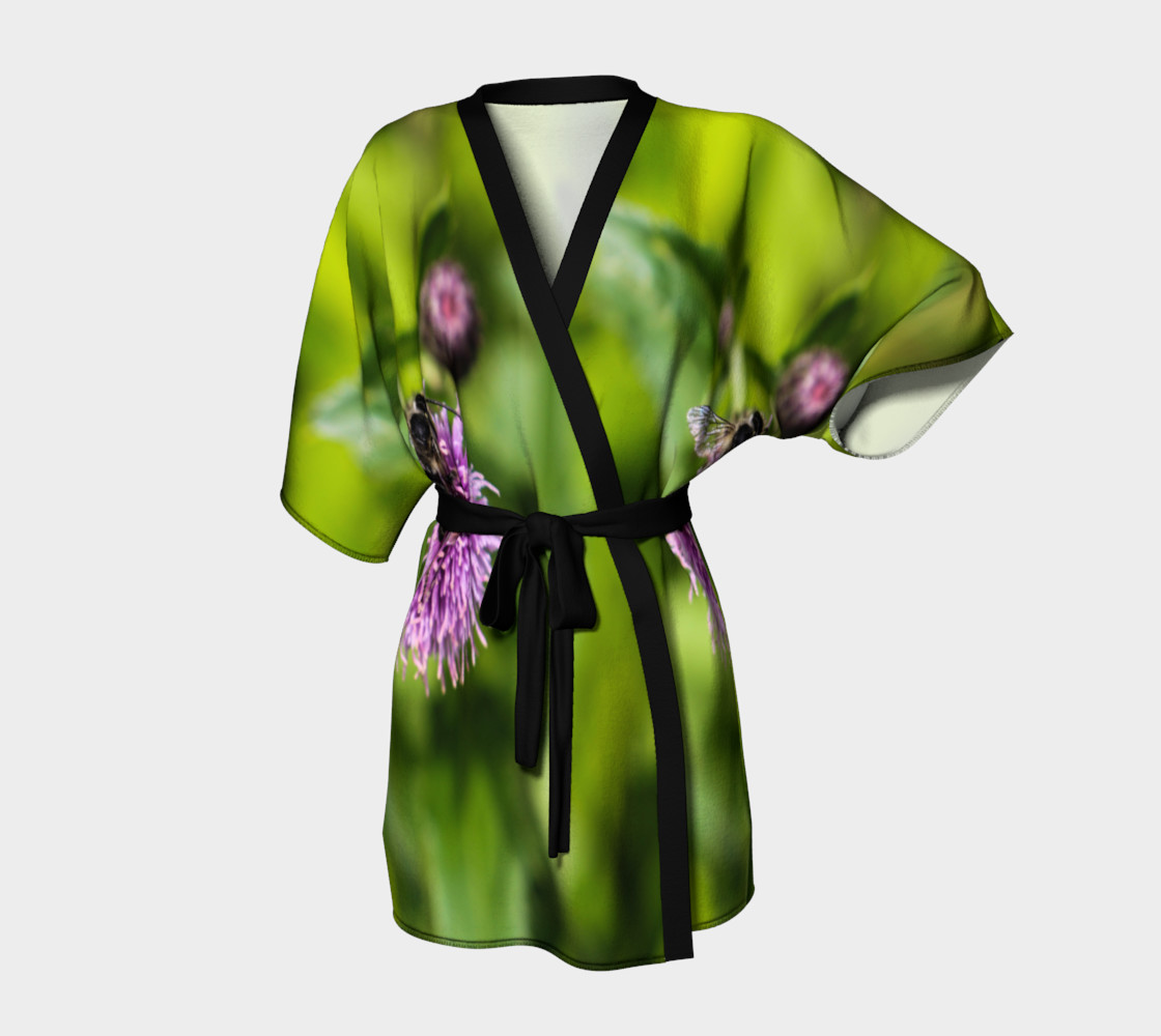 A Bee on a Purple Flower Kimono Robe preview #1