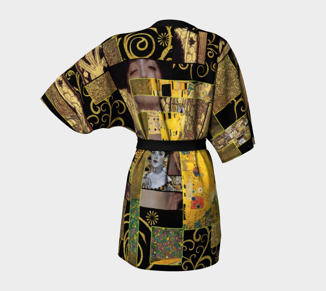 Black Gold Klimt Kimono Robe preview #4