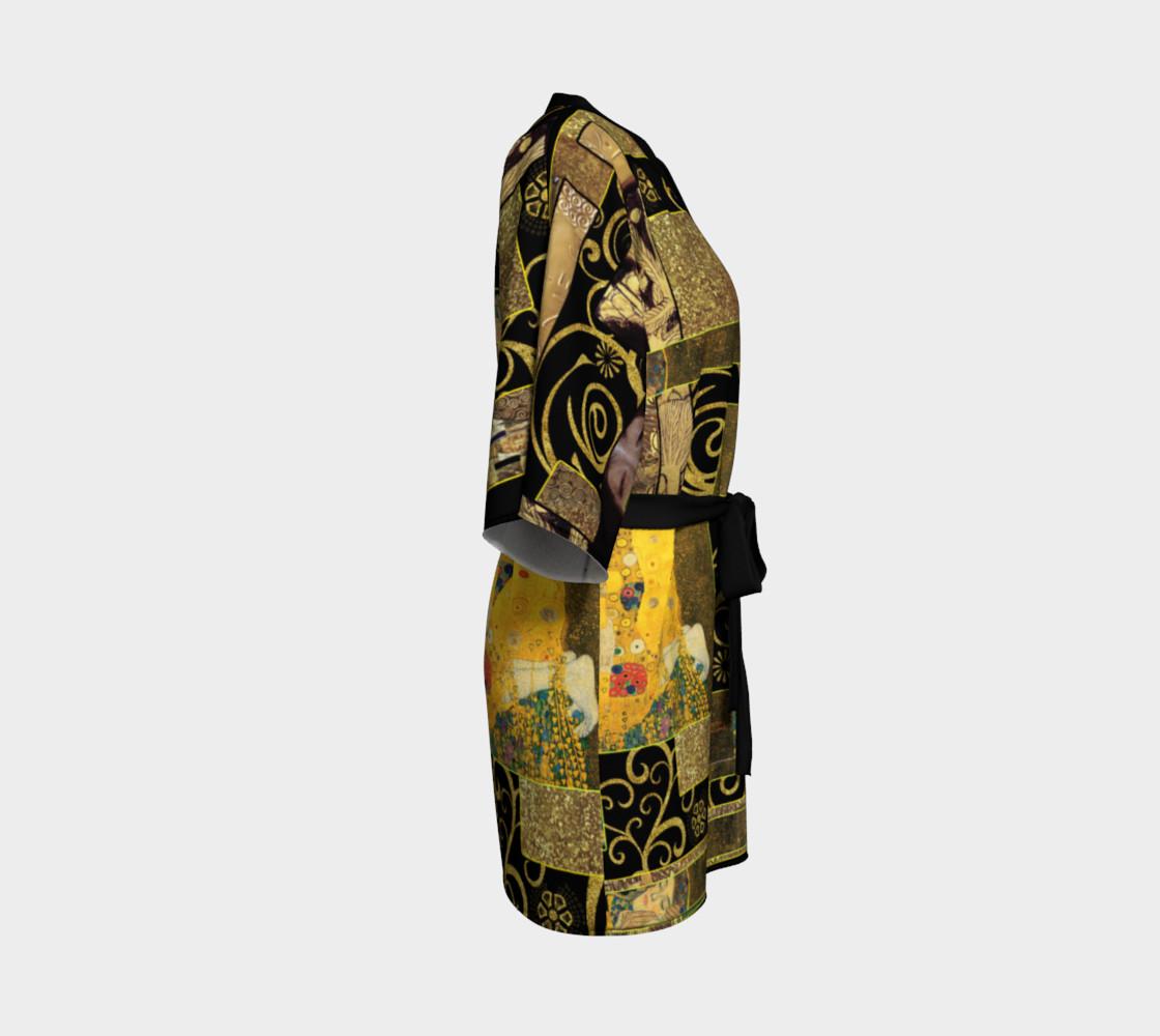 Black Gold Klimt Kimono Robe preview #3