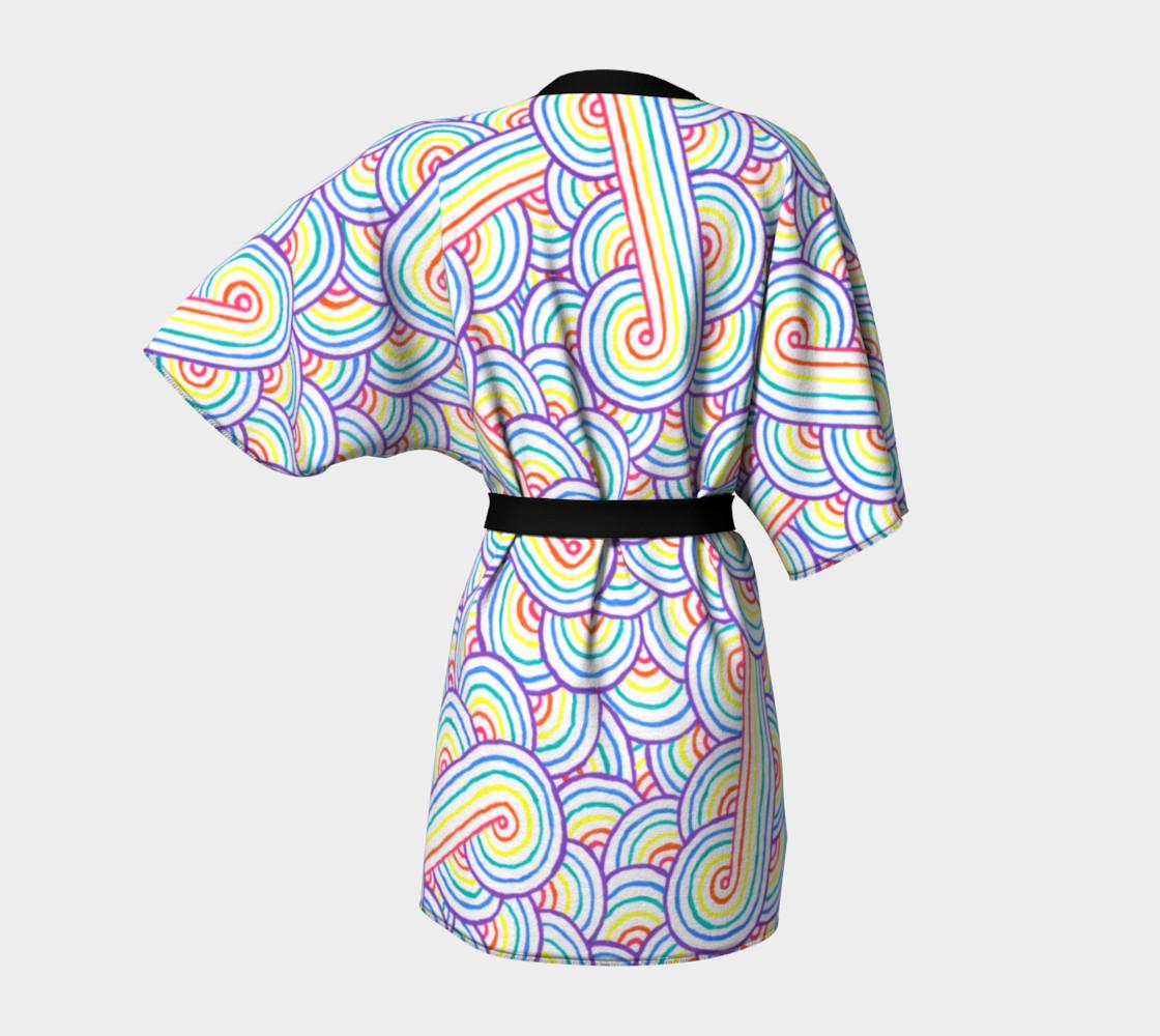 Rainbow and white swirls doodles Kimono Robe preview #4