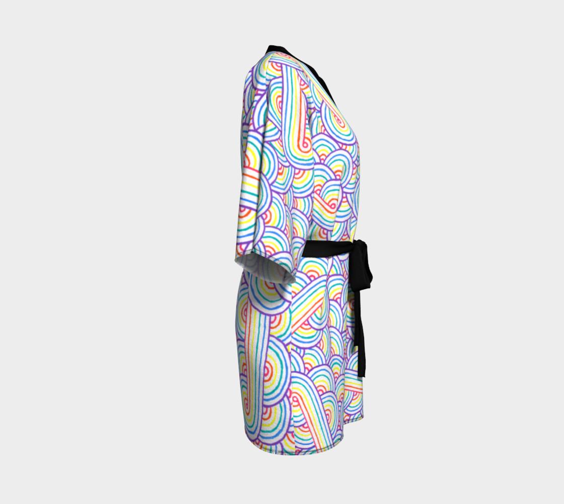 Rainbow and white swirls doodles Kimono Robe preview #3