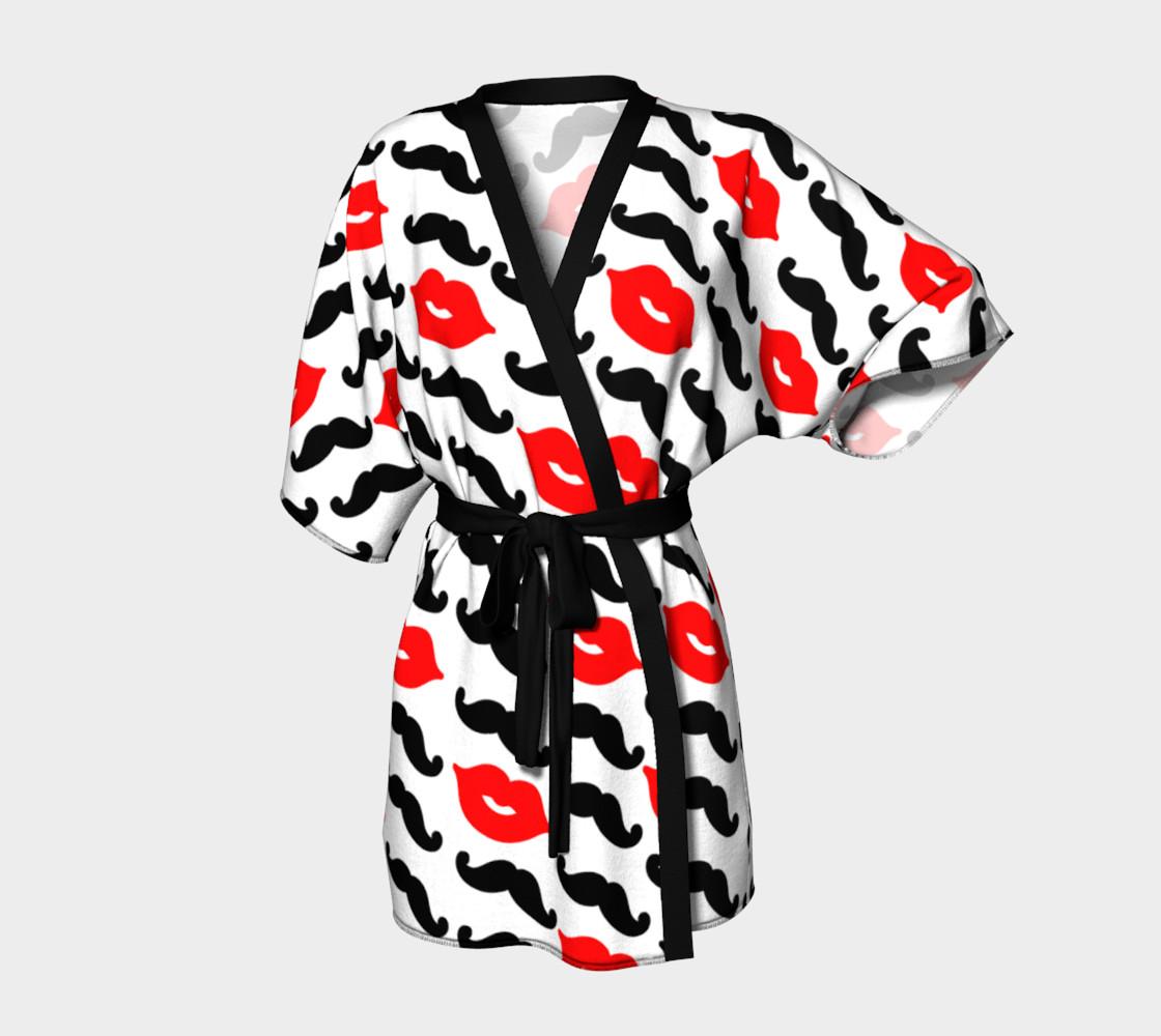 Black Mustache & Red Lips with White Background Kimono Robe preview #1