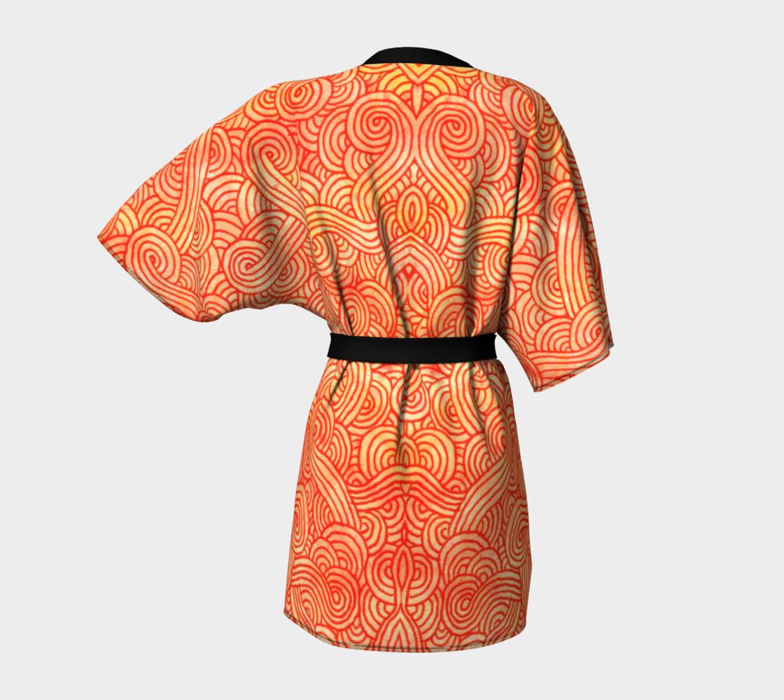 Orange and red swirls doodles Kimono Robe preview #4