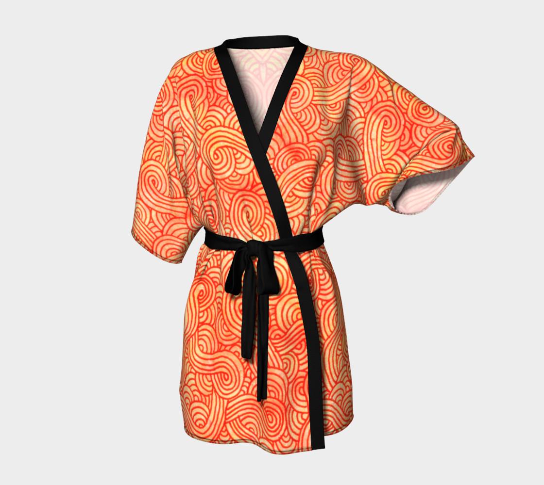 Orange and red swirls doodles Kimono Robe preview #1