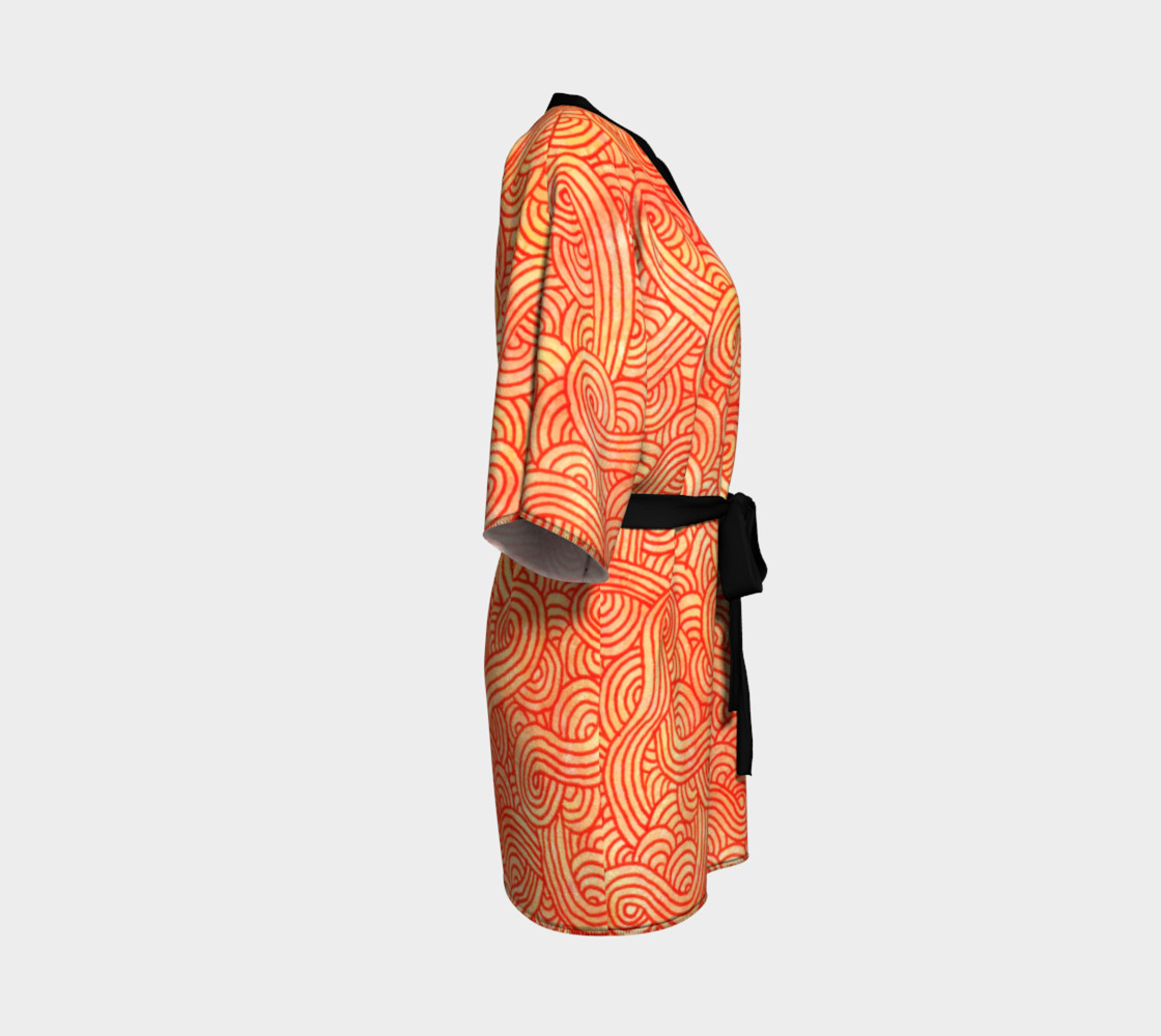 Orange and red swirls doodles Kimono Robe preview #3