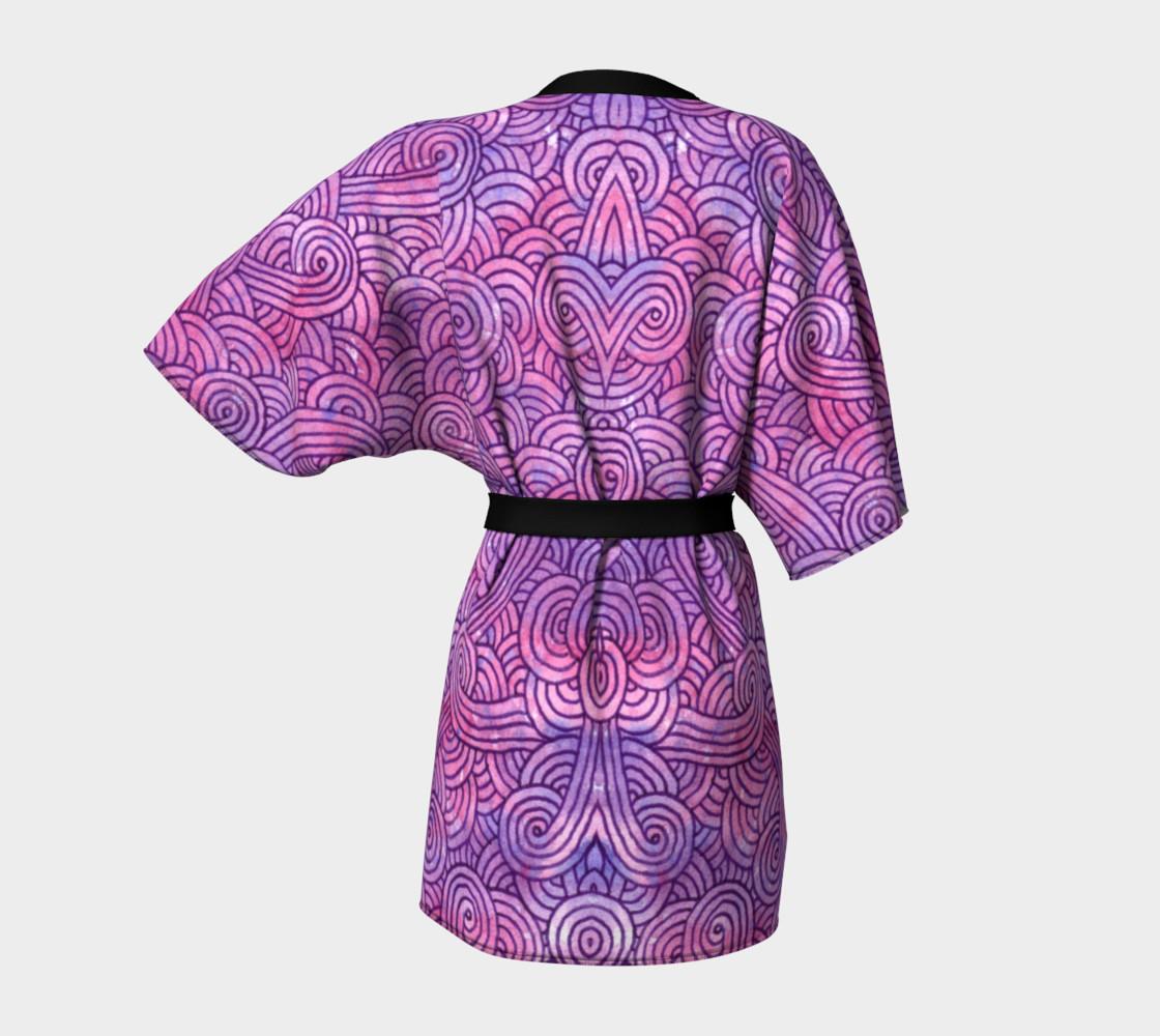 Neon purple and pink swirls doodles Kimono Robe preview #4