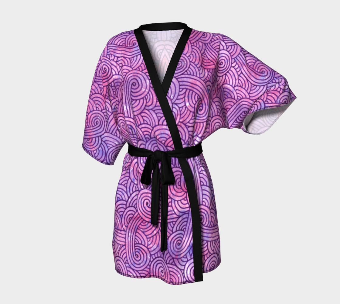 Neon purple and pink swirls doodles Kimono Robe preview #1