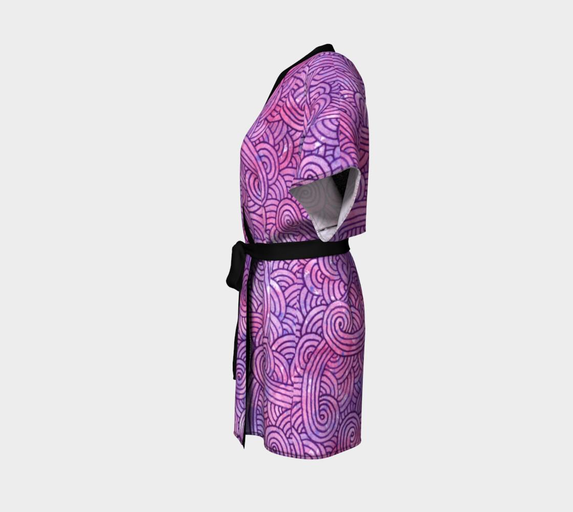Neon purple and pink swirls doodles Kimono Robe preview #2