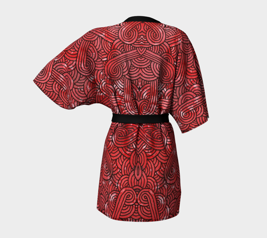 Red and black swirls doodles Kimono Robe preview #4