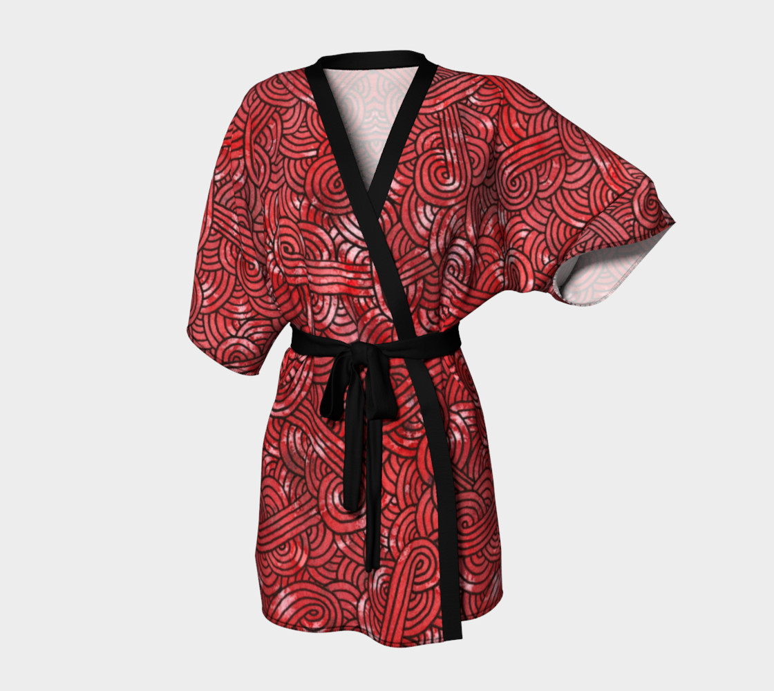 Red and black swirls doodles Kimono Robe preview #1