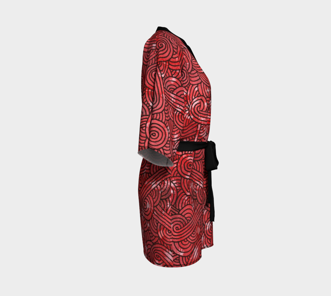 Red and black swirls doodles Kimono Robe preview #3