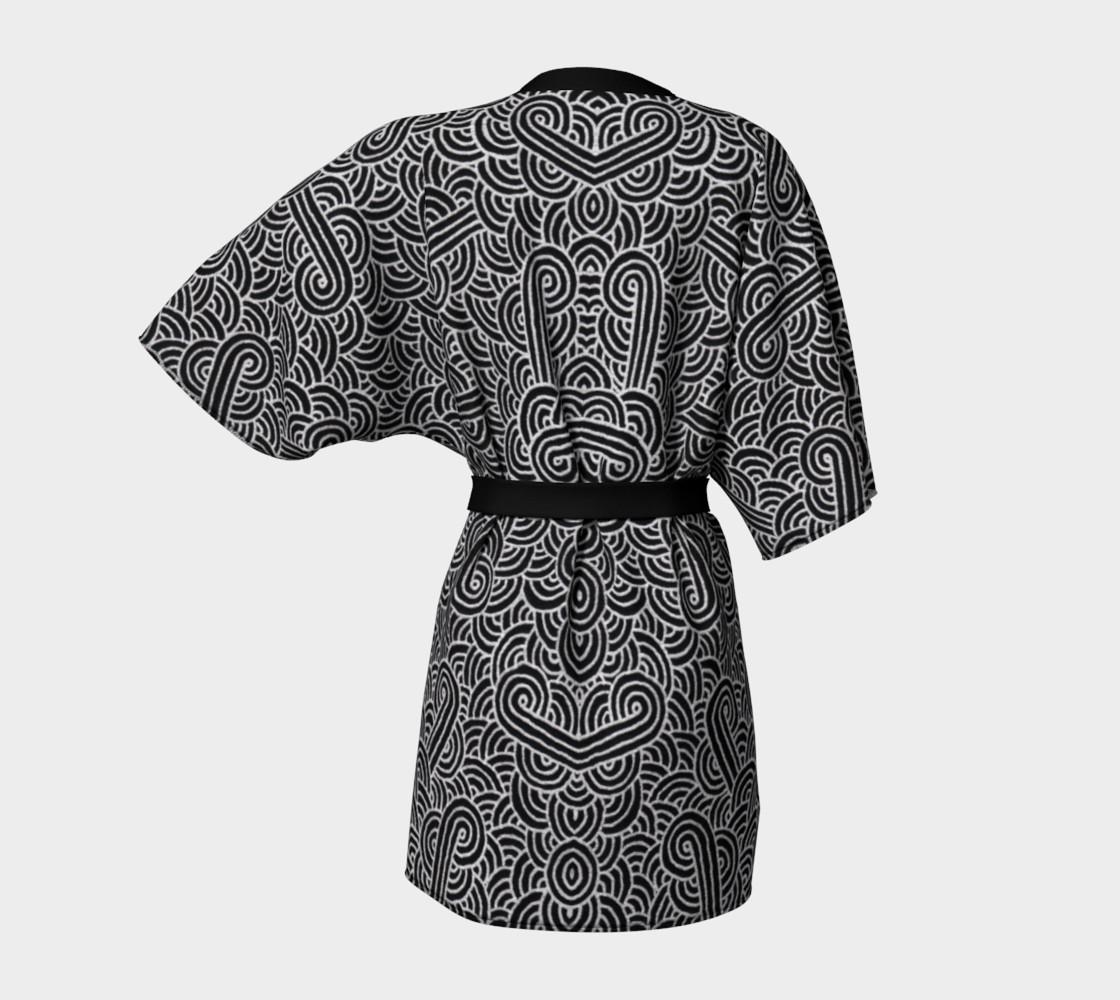 Faux silver and black swirls doodles Kimono Robe preview #4
