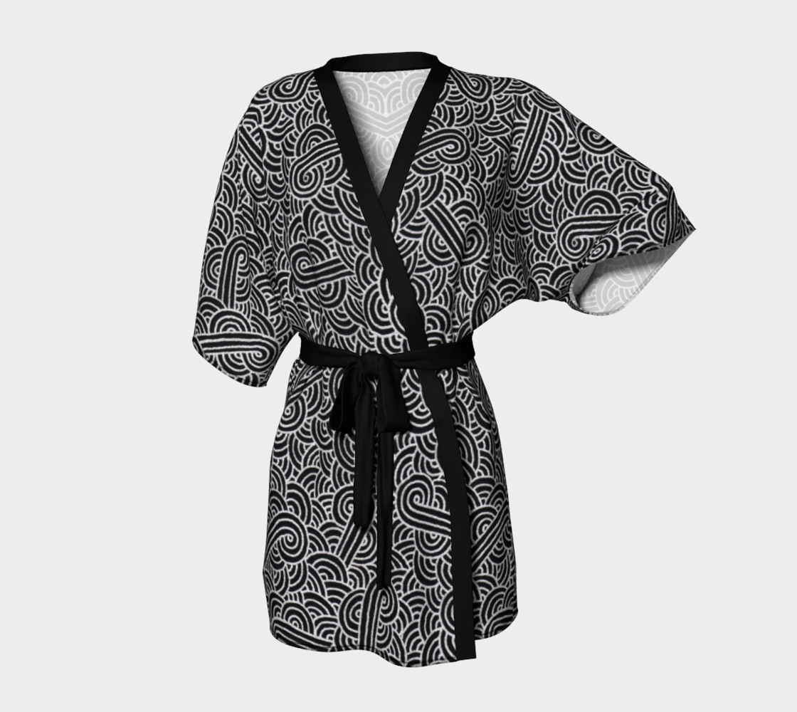 Faux silver and black swirls doodles Kimono Robe preview #1