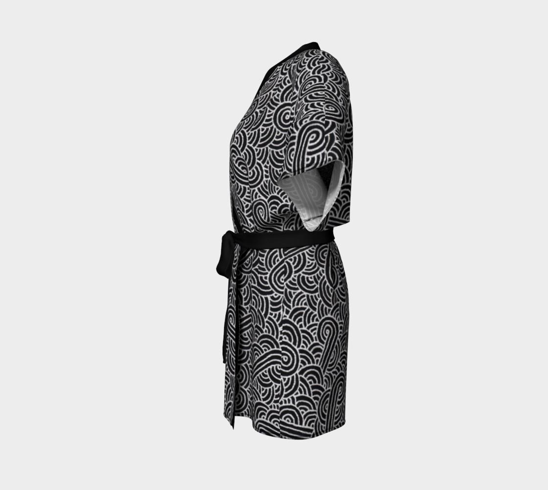 Faux silver and black swirls doodles Kimono Robe preview #2