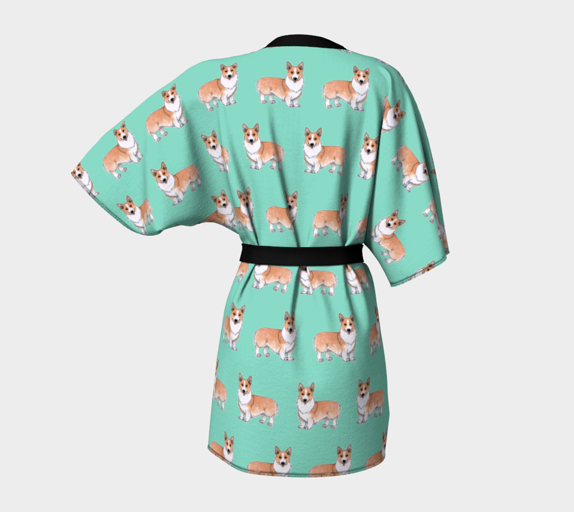 Welsh corgi dogs pattern Kimono Robe preview #4