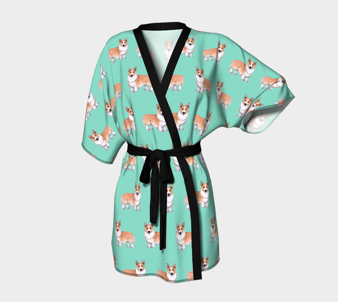 Welsh corgi dogs pattern Kimono Robe preview #1
