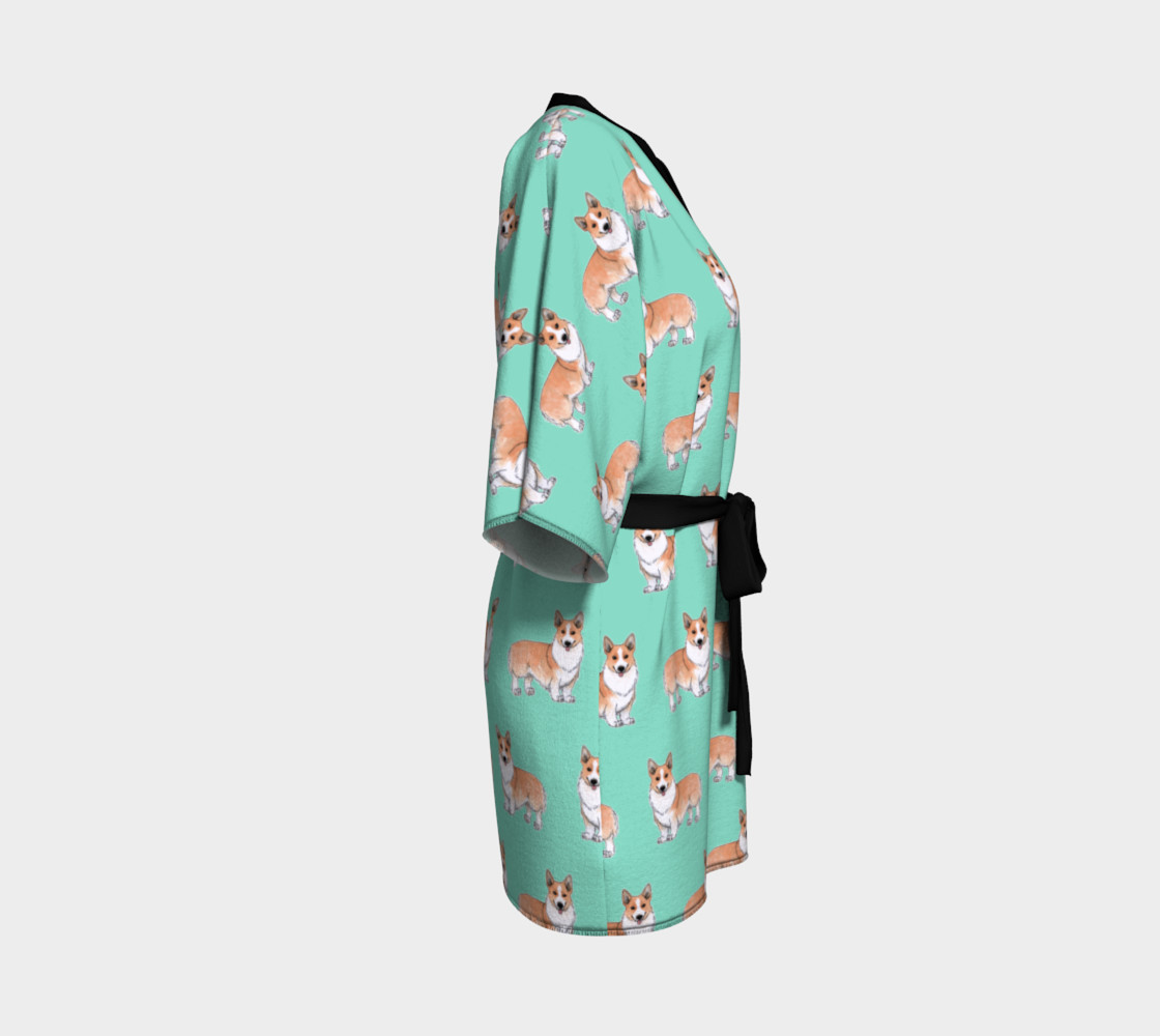Welsh corgi dogs pattern Kimono Robe preview #3